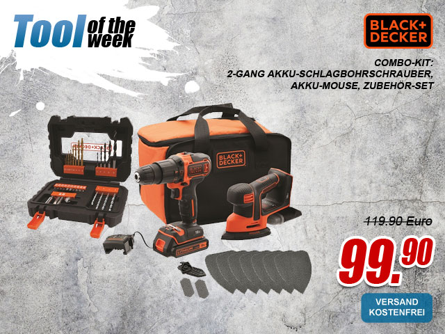 "myToolStore ""Tool of the week"" Black & Decker 18V Combo-Kit: 2-Gang Akku-Schlagbohrschrauber"